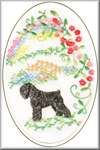 Russian Black Terrier Rainbow Bridge Card Embroidered by Dogmania