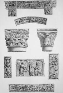 ITALY-Pavia-San-Michele-Maggiore-Interior-Details-SUPERB-1843-Antique-Print