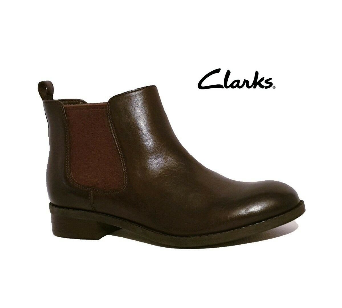 CLARKS PITA SEDONA DARK BROWN GENUINE LEATHER CHELSEA ANKLE BOOTS   LADIES