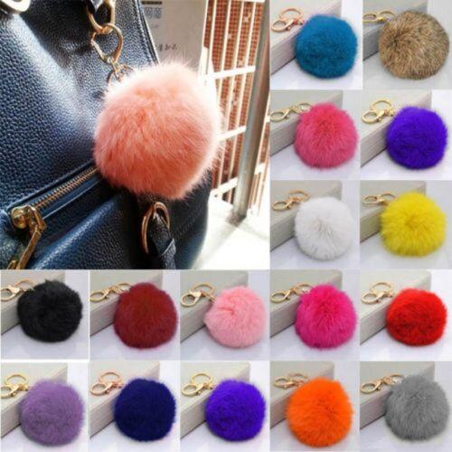 Cell Phone Car Keychain Pendant Handbag Key Ring Rabbit Fur Ball PomPom HMB