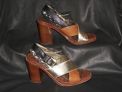 "Heels Sam Edelman ""ivy"" Womens Tan/gold W/black Trim Leather Slingback Sandal Sz 7.5m"