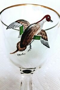WILD-BIRD-WINE-GLASSES-HAND-PAINTED-SET-OF-4-GLASSES-SIGNED-H-MARTIN