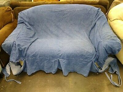 Large Pair Pottery Barn Denim Blue Jean Small Sofa Amp Love