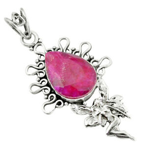 14-72cts-Natural-Red-Ruby-925-Sterling-Silver-Angel-Wings-Fairy-Pendant-P59701