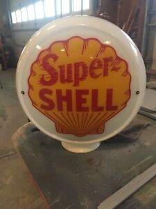 "Super Shell 13.5/"" Gas Pump Globe w// Yellow Plastic Body G176"