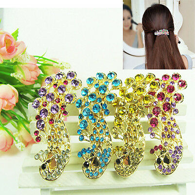 Fashion Retro Women's Girl Crystal Rhinestone Peacock Barrette Hairpin Hair Clip