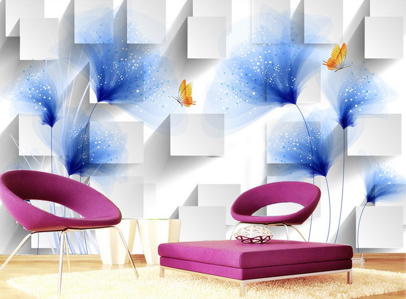 3D Flower Butterfly 9 Wall Paper Murals Wall Print Wall Wallpaper Mural AU Lemon