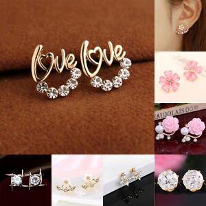 1 Pair Women Lady Elegant Crystal Rhinestone Ear Stud Earrings New Fashion