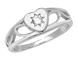 STERLING SILVER BABY RING CHILDS KIDS CUBIC ZIRCONIA OBLONG SIGNET BAND BOXED