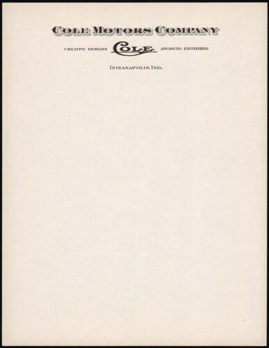 Vintage letterhead COLE MOTORS COMPANY Indianapolis unused new old stock n-mint