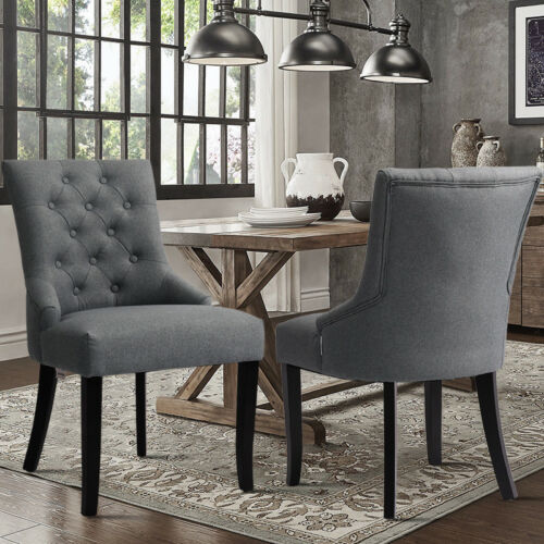 Set of 2/4pcs Buttoned Back Dining Chair Linen Fabric Upholstered Seat Stools UK 2x Light Grey,2x Dark Grey,4x Light Grey,4x Dark Grey