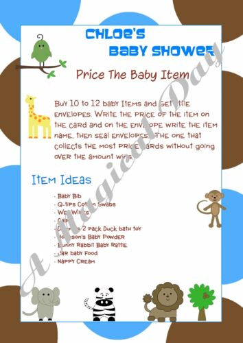 Personalised Baby Shower Games on CDBlue AnimalsNOT PRINTED SHEETS