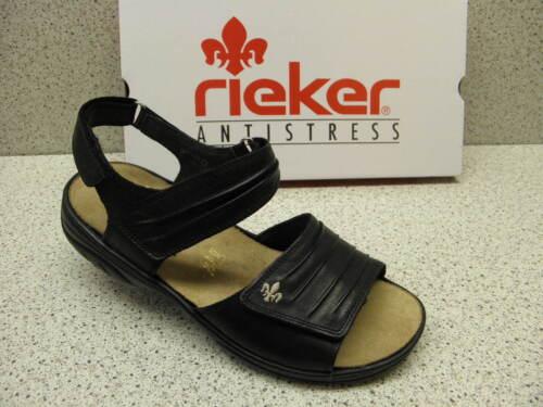 R425 rieker ® reduziert Top Preis   Sandale Klett Einlagen Leder schwarz