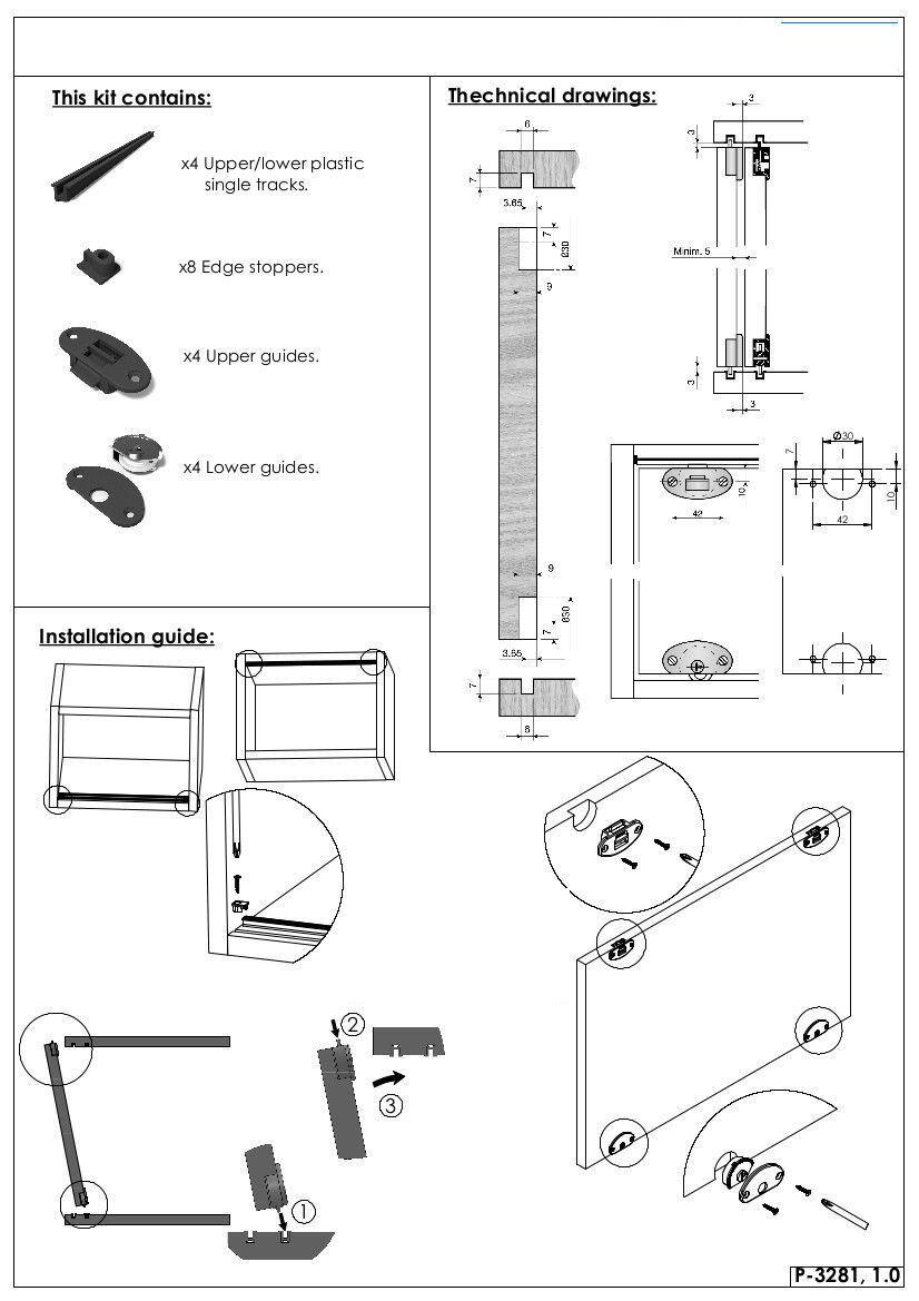 Sistemi Scorrevoli Per Ante Mobili.Sistema Ferramenta Scorrevole Kit Per Mobili H Max 1200mm 1 2 Ante