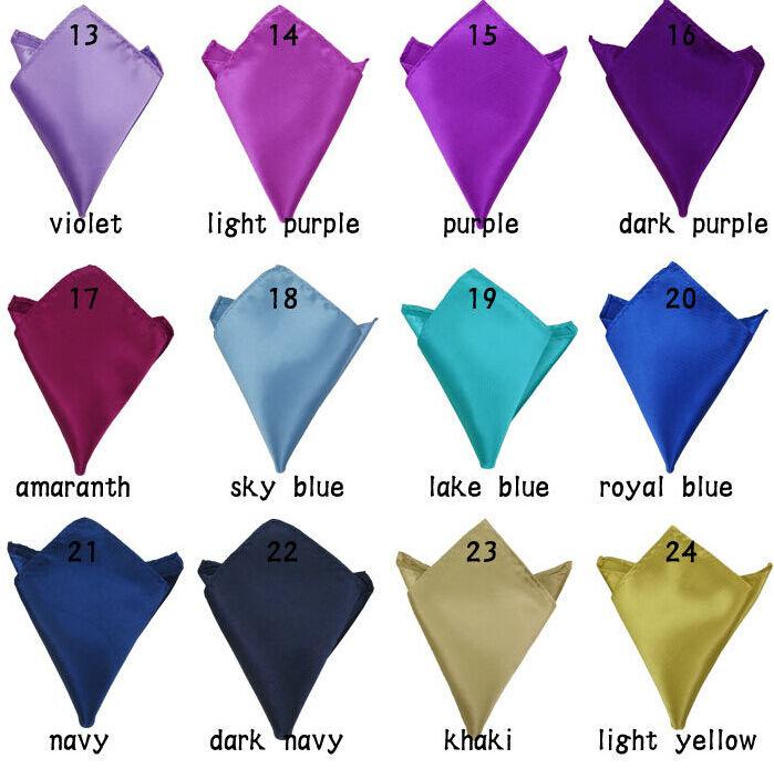 10/50Pcs Solid Retro Mens Handkerchief Tuxedo Pocket Square Wedding Silk Hanky