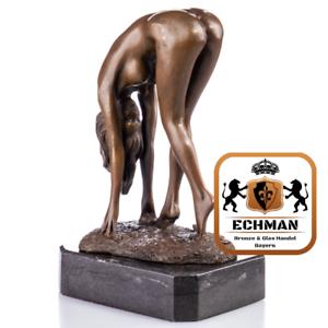 YB387 Prunkvolle Erotische Bronzefigur Weiblicher Akt ca 20 x 12 x 9 cm