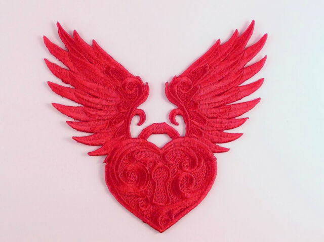 Embroidered Winged Heart Motif / Patch / Badge / Applique