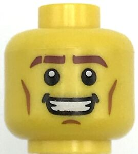 Lego New Yellow Minifigure Head Dual Sided Brown Eyebrows Cheek Lines Mouth
