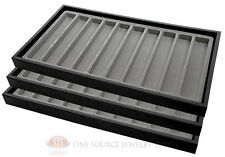 (3) Black Plastic Stackable Sample Trays w/10 Slot Gray Jewelry Display Inserts