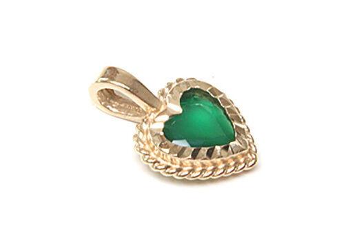 9ct oro verde verde verde Agata Collana Pendente Cuore regalo in scatola made in UK e5db98