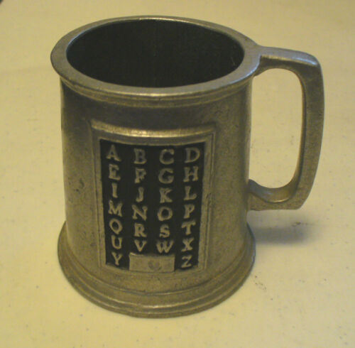 1 VINTAGE WILTON ARMETALE PEWTER SMALL ABC ALPHABET CUP MUG PEWTER HOARD