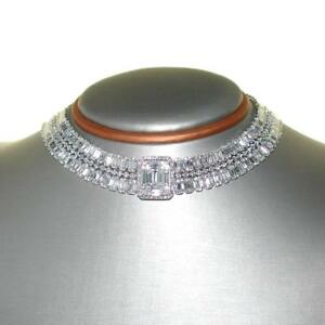 Stunning-13-05-TCW-Round-amp-Baguette-Cut-Diamond-Necklace-In-Solid-18k-White-Gold