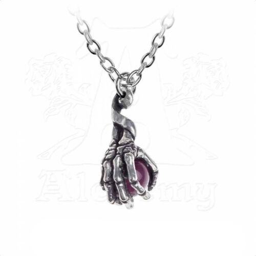 Necklace Collier Alchemy Gothic Clutching Life Skeleton Hand Topaze Gothique