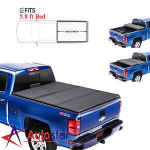 5 8ft Lock Hard Tri Fold Tonneau Cover For 2014 2020 Chevy Silverado Gmc Sierra Ebay