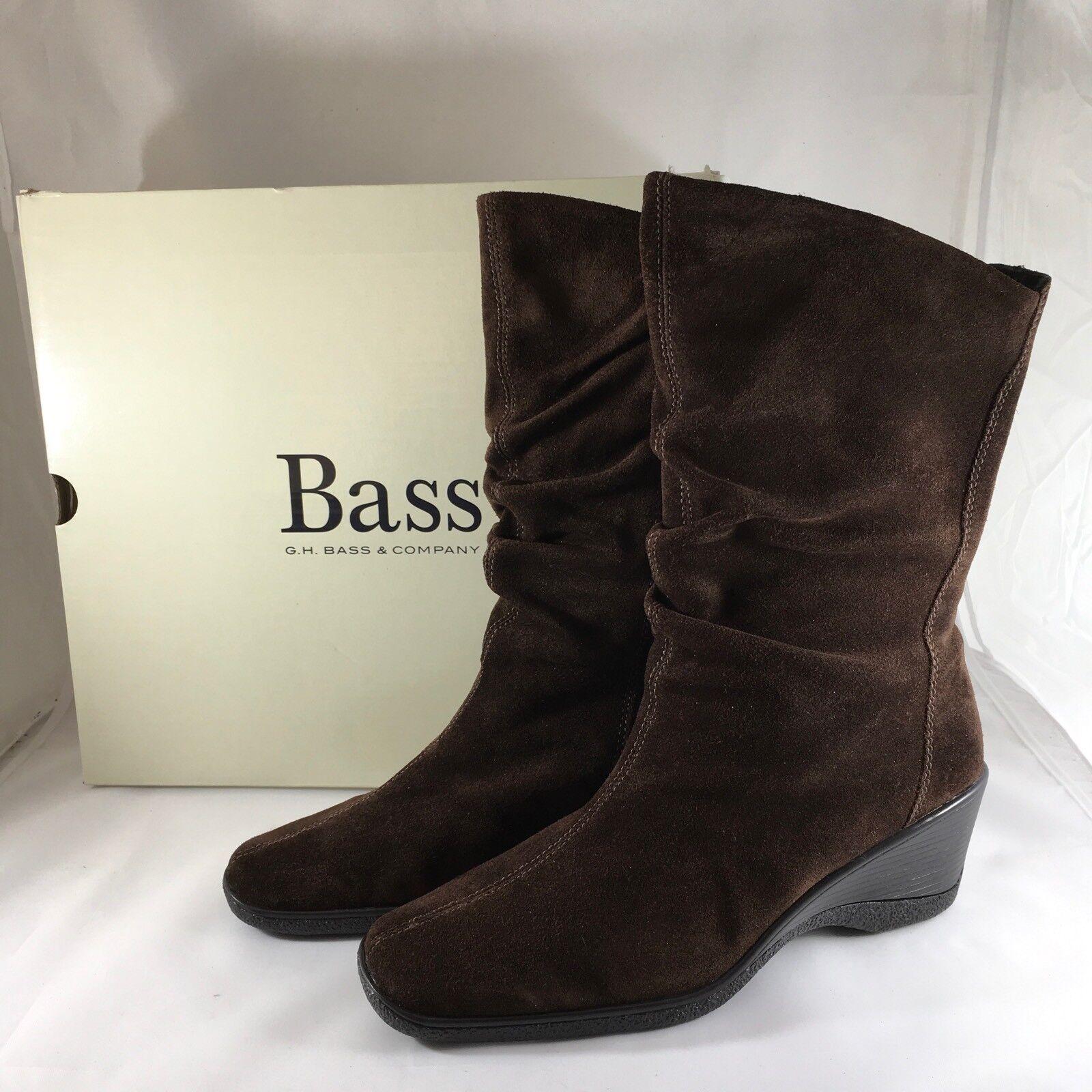 NEW Bass damen's Chocolate braun Suede Leather Ganelle Stiefel Sz 7.5 Medium