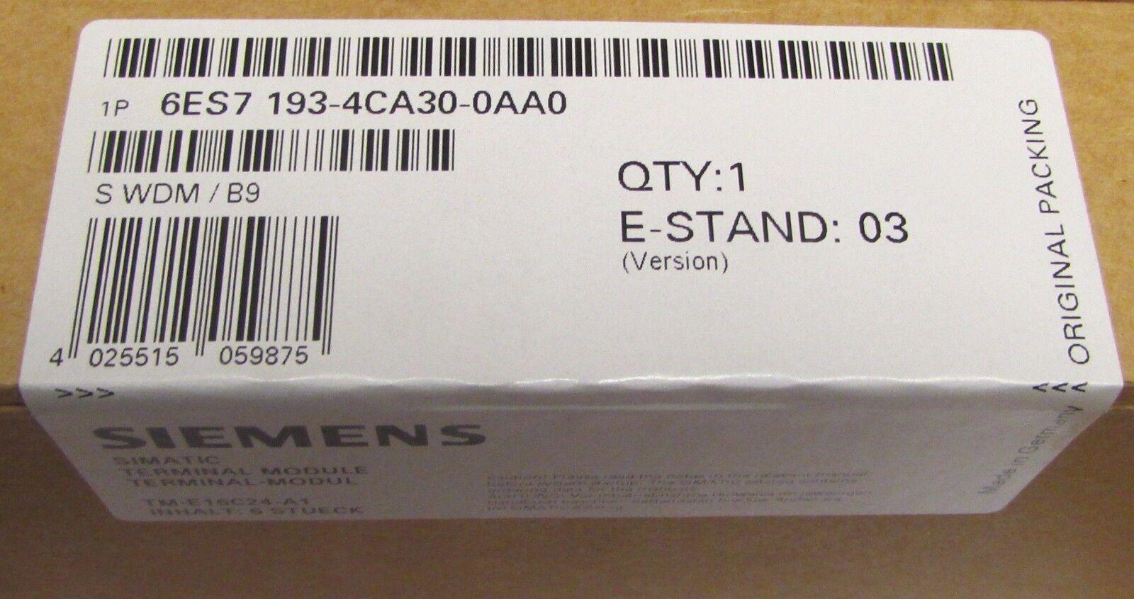 SIEMENS (Box of 5) Estand 03 Terminal Module 6ES7 193 4CA30 0AA0 SEALED BOX