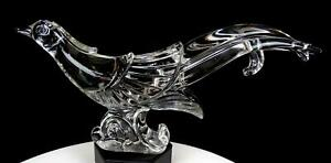 """PADEN CITY #4155 CLEAR GLASS CHINESE PHEASANT HEAVY 13 1/4"""" FIGURINE 1916-1951"""
