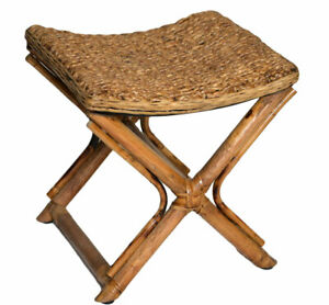 Rattan-Wicker-Foot-Stool-Ottomans-Child-Seat-Stand-Hand-Made-Retro-Hobo