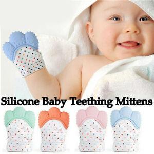 SILICONE-BABY-dentizione-Mitt-Guanto-Guanti-di-Pelle-Teether-sicuro-BPA-Chew-Giocattolo-Manichino