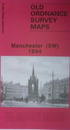 OLD ORDNANCE SURVEY DETAILED MAPS MANCHESTER SW LANCASHIRE 1894 Godfrey Edition