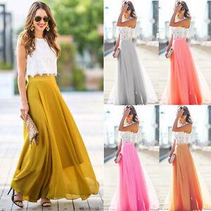 Women-Skirt-Elastic-Waist-Chiffon-Long-Maxi-Beach-Dress-Chiffon-Beach-Long-Skirt