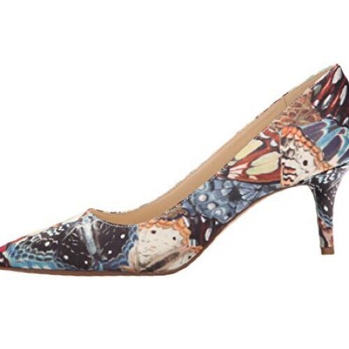 Nine West Margot 5.5 M Taupe Taupe M Multi Print Pattern Fabric Pumps Pointed New in Box 61ff62