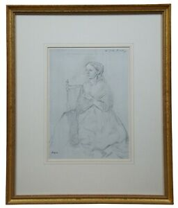 Edgar Degas Lithograph Print Portrait of Seated Victorian Woman Julia Burley