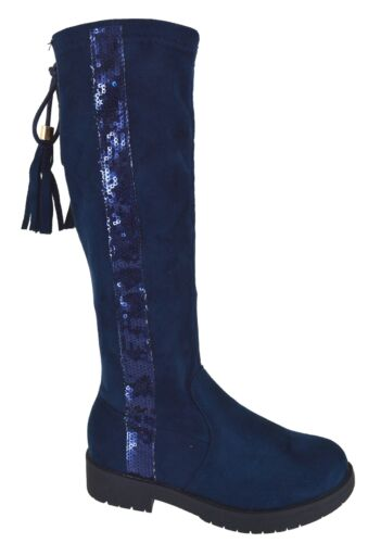 KIDS GIRLS SCHOOL SHOES FLAT BOOTS WINTER GRIP SOLE  OVER THE KNEE BOOTS SZ 8-2