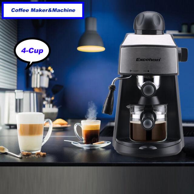 PRO 4-Cup Steam Coffee Maker Machine Espresso Cappuccino Latte Barista 3.5Bar UK