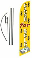 Cash For Gold Advertising Feather Banner Swooper Flag Sign With Flag Pole Kit