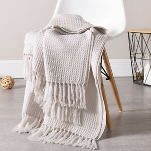 Soft-Knitted-Throw-Blanket-Bed-Sofa-Couch-Decorative-Fringe-Waffle-Pattern-51x67