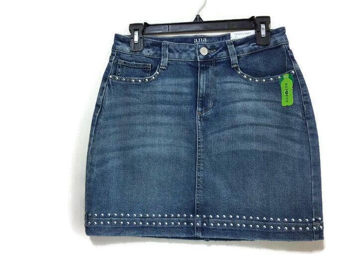 A.N.A  New Approach Womens bluee Denim Jean Mini Skirt Stud Accents Size 6  NWT