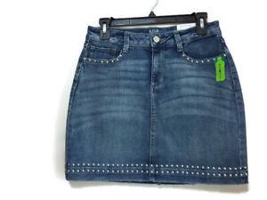 18e3b8c6a A.N.A New Approach Womens Blue Denim Jean Mini Skirt Stud Accents ...