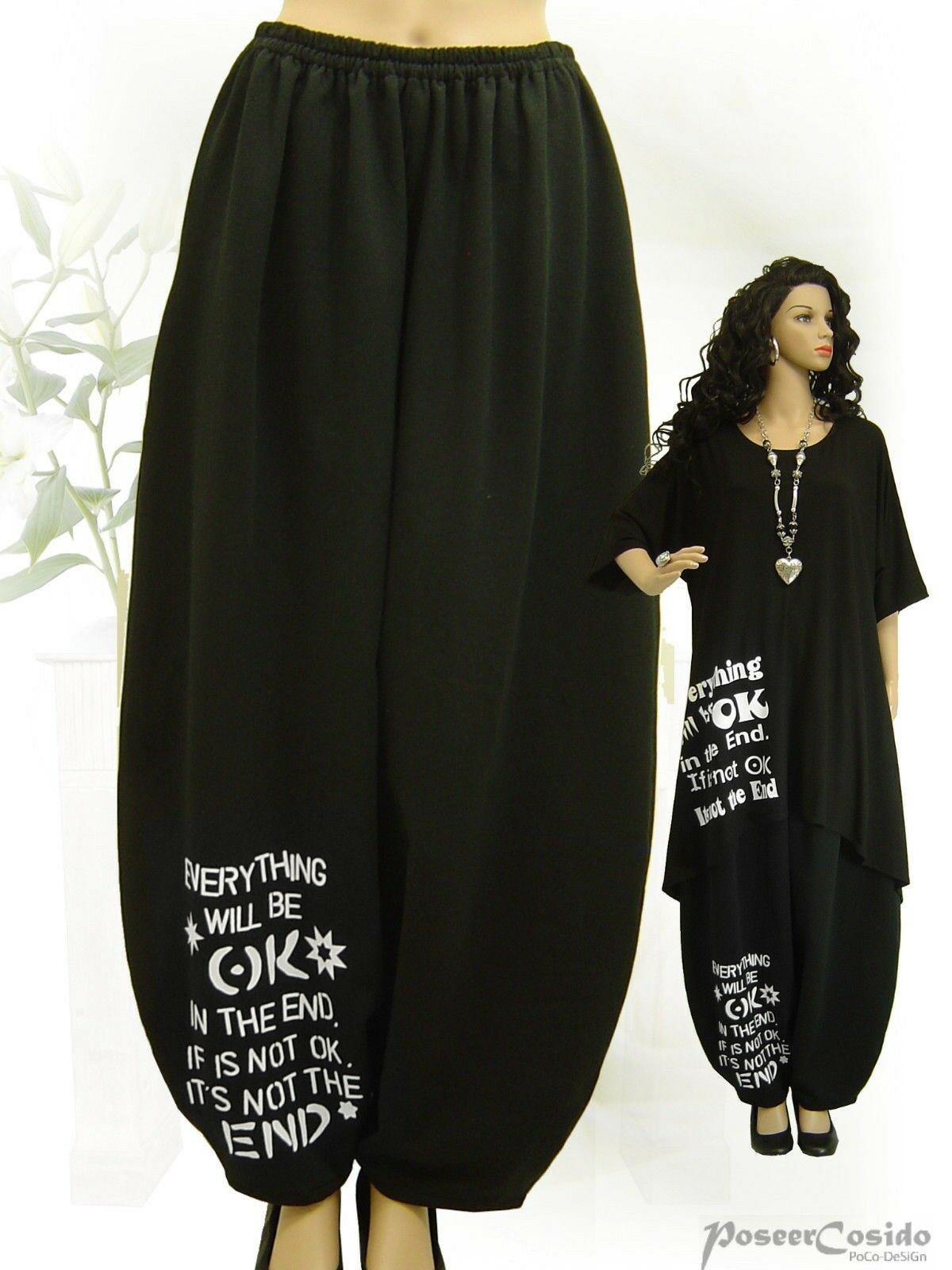 PoCo DeSiGn LAGENLOOK Jersey Hose Ballonhose black white Print  L-XL-XXL-XXXL