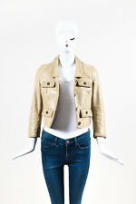 RED Valentino Beige Leather Zig Zag Trim Cropped Button Jacket
