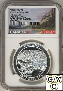 2015-Grizzly-Bear-The-Catch-Proof-20-Silver-Coin-1oz-NGC-PF70-9999Fine-17543