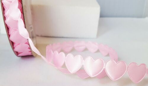 Padded Heart Cut Out Ribbon Gingham Satin Glitter Cut Length x 1m