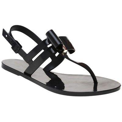 New Womens Zaxy Black Glaze Bow Pvc Sandals Flats Slip On