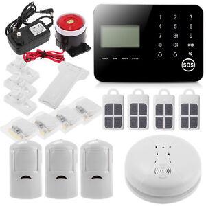 wireless diy home security alarm smoke burglar system ios android app gsm sms ebay. Black Bedroom Furniture Sets. Home Design Ideas