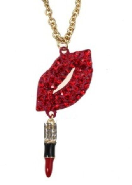 N280 Betsey Johnson Cute Sexy Lips with Dangling Lip Stick Tassels Necklace US